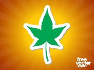 Marijuana Leaf Sticker Free Vector