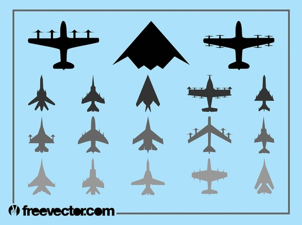 Military Airplanes Set Free Vector