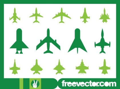 Military Planes Icons Free Vector