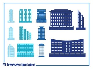 Modern Buildings Set Free Vector