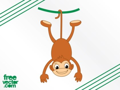 Monkey and Vine Free Vector