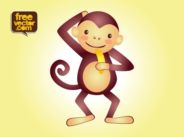 Monkey Character Free Vector