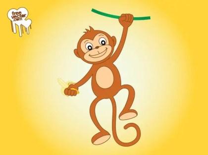 Monkey With Banana Free Vector