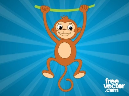 Monkey With Vine Free Vector