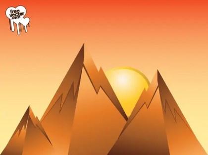 Mountain Sunrise Design Free Vector