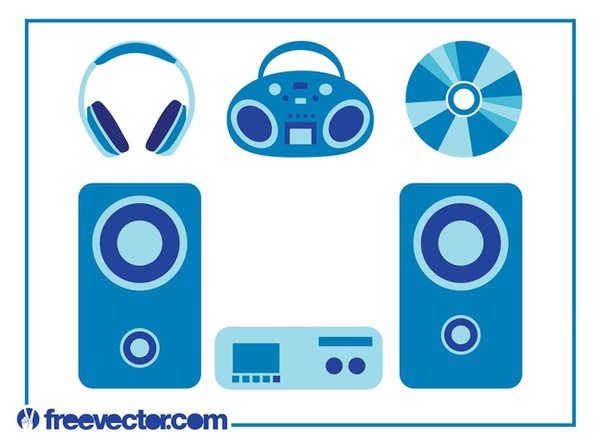 Music Devices Set Free Vector