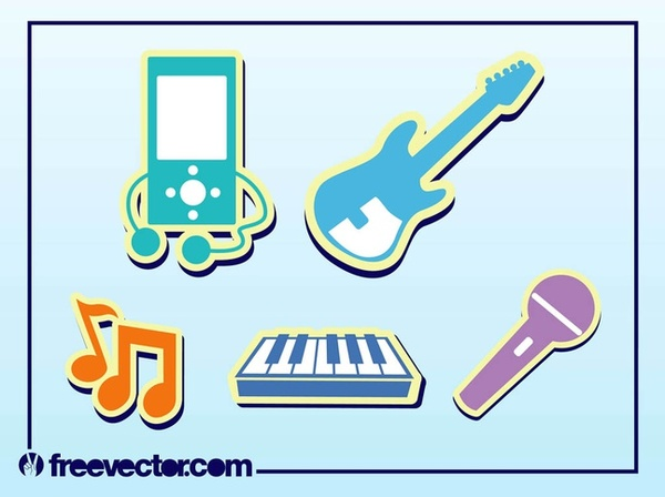 Music Stickers Free Vector