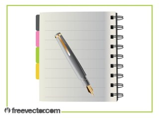 Notebook and Pen Free Vector