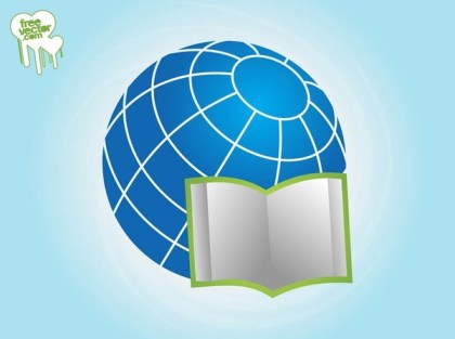 Open Book and Globe Free Vector