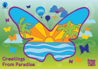 Paradise Butterfly Free Vector