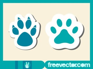 Paw Stickers Free Vector