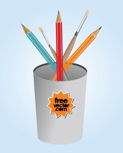 Pencils and Brushes Free Vector