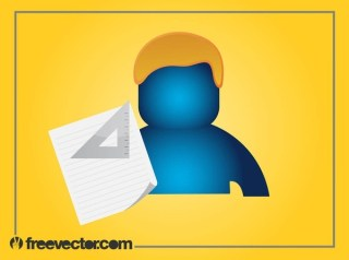 Person and Stationery Free Vector
