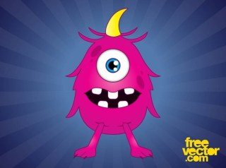 Pink Cartoon Monster Free Vector
