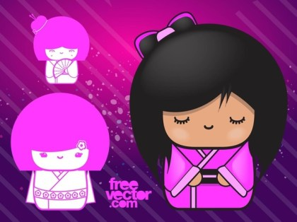 Pink Dolls Free Vector