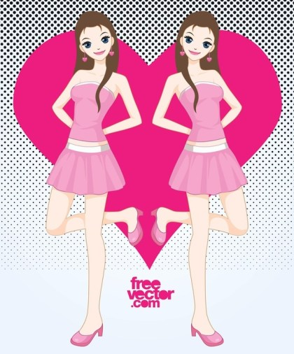 Pink Girl Free Vector