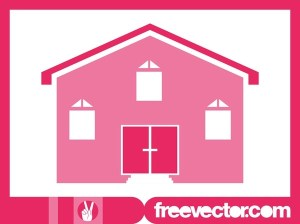 Pink House Icon Free Vector