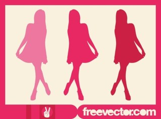 Pink Model Silhouette Free Vector