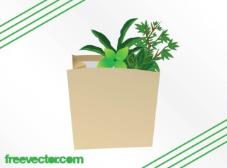 Plants in Paper Bag Free Vector