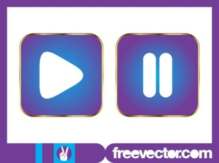 Play and Pause Buttons Free Vector