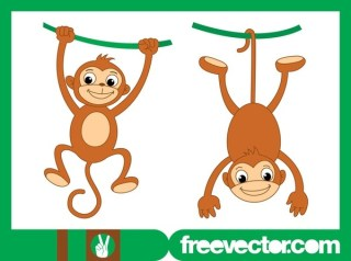 Playing Monkeys Free Vector