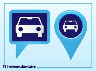 Pointers With Car Icon Free Vector