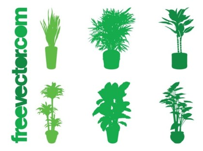 Potted Plant Silhouettes Set Free Vector