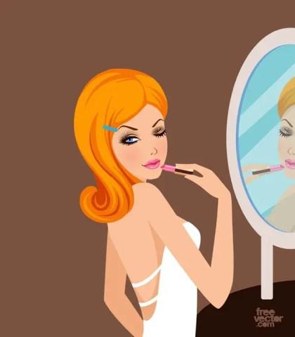 Pretty Girl With Lipstick Free Vector