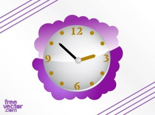 Purple Clock Free Vector