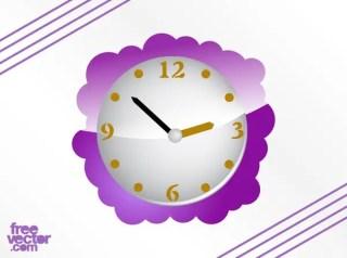 Purple Clock Free Vector