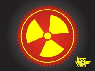 Radioactive Button Free Vector