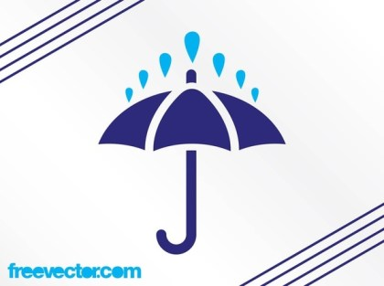 Rain and Umbrella Icon Free Vector