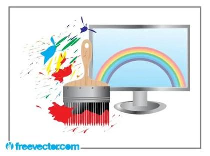 Rainbow Computer Screen Free Vector