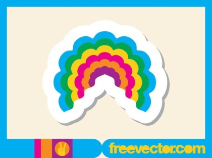 Rainbow Sticker Free Vector