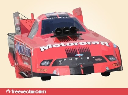 Red Drag Race Car Free Vector