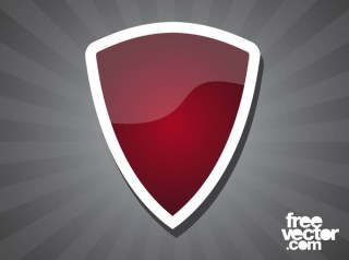 Red Shield Sticker Free Vector