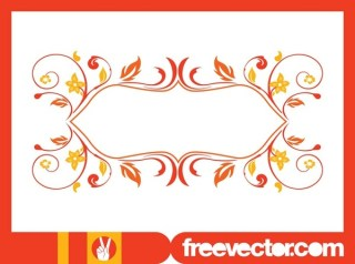 Retro Floral Frame Free Vector