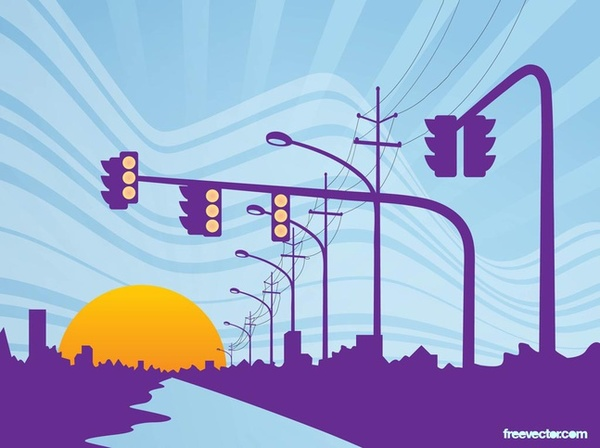 Road Sunset Free Vector