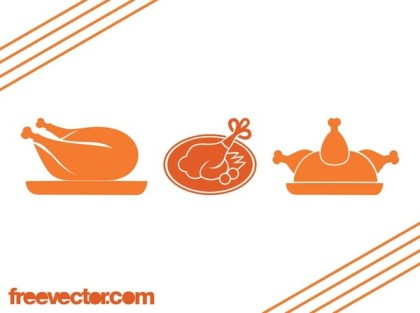 Roast Poultry Icons Free Vector
