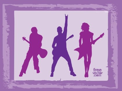 Rock Band Silhouettes Free Vector