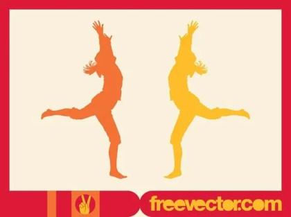 Running Happy Girls Free Vector