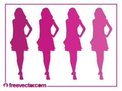 Runway Girls Silhouettes Free Vector