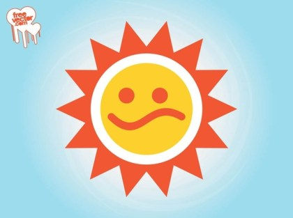 Sad Sun Icon Free Vector