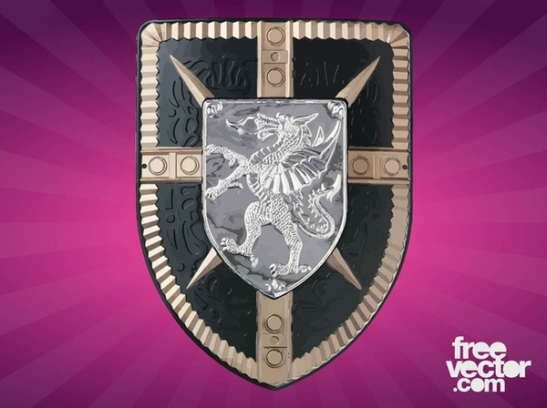 Shield With Dragon Free Vector