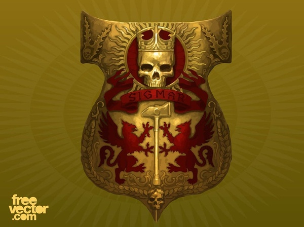 Shield With Skull Free Vector