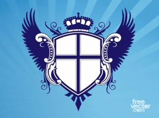 Shield With Wings and Crown Free Vector