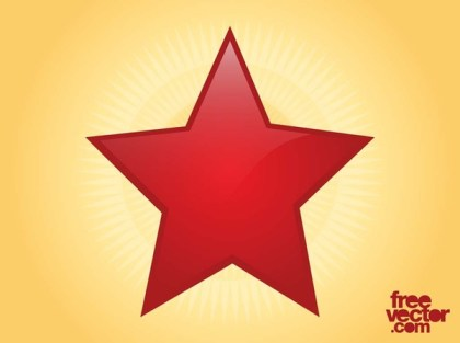 Shiny Red Star Free Vector