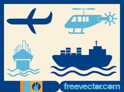Ships and Planes Free Vector