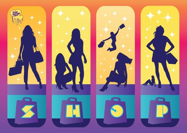 Shopping Girls Free Vector