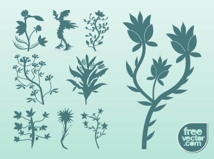 Silhouette Plants Free Vector
